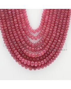 2.50 to 7.00 mm - 8 Lines - Ruby Smooth Beads - 22 to 26 inches (RSB1012)