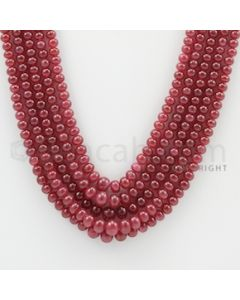 3.50 to 6.50 mm - 5 Lines - Ruby Smooth Beads - 20 to 22 inches (RSB1014)