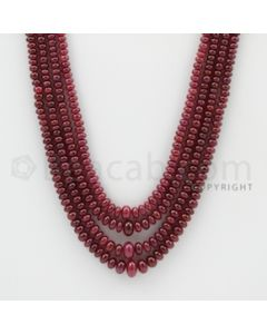 2.50 to 6.50 mm - 4 Lines - Ruby Smooth Beads - 20 to 22 inches (RSB1018)