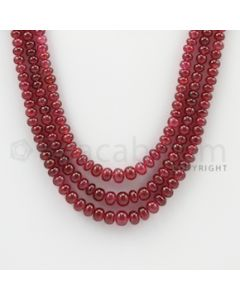 3.50 to 5.70 mm - 3 Lines - Ruby Smooth Beads - 17 to 19 inches (RSB1019)