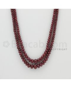 2.50 to 7.70 mm - 2 Lines - Ruby Smooth Beads - 23 to 24 inches (RSB1024)