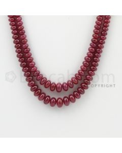 3.20 to 8.70 mm - 2 Lines - Ruby Smooth Beads - 18 to 19 inches (RSB1025)