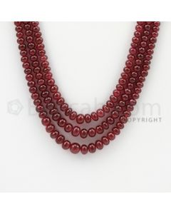 3.20 to 5.70 mm - 3 Lines - Ruby Smooth Beads - 18 to 20 inches (RSB1026)
