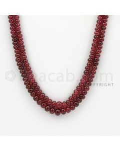 3.00 to 5.50 mm - 2 Lines - Ruby Smooth Beads - 20 to 21 inches (RSB1028)