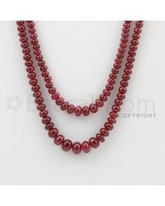 3.00 to 7.00 mm - 2 Lines - Ruby Smooth Beads - 14 to 16 inches (RSB1029)