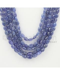 5.00 to 8.00 mm - 5 Lines - Tanzanite Tumbled Beads - 17 to 19 inches (TzTuB1002)