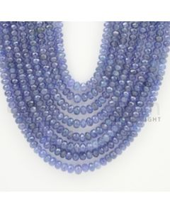 4.00 to 6.00 mm - 8 Lines - Tanzanite Faceted Beads - 19 to 22 inches (TzFB1002)