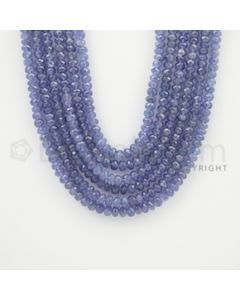 5.00 to 6.00  mm - 6 Lines - Tanzanite Faceted Beads - 18 to 22 inches (TzFB1004)