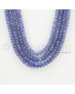 4.00 to 6.00 mm - 4 Lines - Tanzanite Faceted Beads - 20 to 22 inches (TzFB1008)