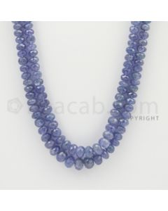 5.00 to 8.20 mm - 2 Lines - Tanzanite Faceted Beads - 20 to 21 inches (TzFB1009)