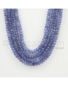 4.00 to 5.50 mm - 4 Lines - Tanzanite Faceted Beads - 17 to 19 inches (TzFB1010)