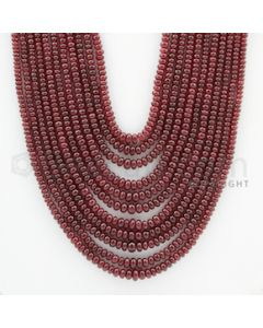 3.00 to 6.00 mm - 11 Lines - Ruby Smooth Beads - 18 to 24 inches (RSB1035)