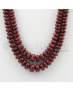 4.00 to 9.00 mm - 2 Lines - Ruby Smooth Beads - 15 to 16 inches (RSB1037)
