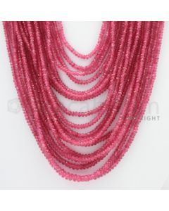 2.50 to 5.20 mm - Pink Sapphire Faceted Beads - 1204.00 Carats - 18 Lines (PnSFB1019)
