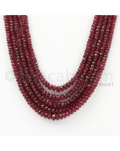 2.30 to 4.80 mm - Ruby Faceted Beads - 230.00 Carats - 5 Lines (RFB1024)