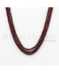 2.80 to 3.30 mm - Ruby Faceted Beads - 106.80 Carats - 3 Lines (RFB1028)