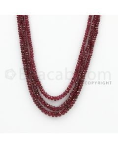 2.50 to 5.00 mm - Ruby Faceted Beads - 170.00 Carats - 3 Lines (RFB1032)