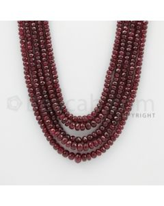 3.20 to 7.50 mm - Ruby Faceted Beads - 452.10 Carats - 5 Lines (RFB1034)