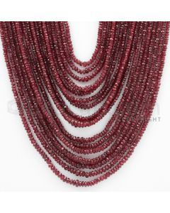 2.00 to 4.50 mm - Ruby Faceted Beads - 471.15 Carats - 17 Lines (RFB1041)