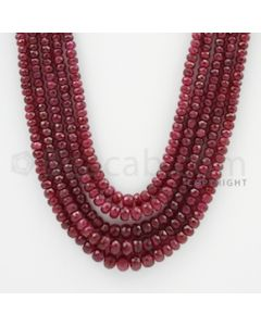 3.00 to 6.50 mm - Ruby Faceted Beads - 469.65 Carats - 5 Lines (RFB1045)