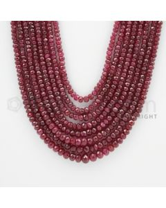 2.40 to 6.70 mm - Ruby Faceted Beads - 593.00 Carats - 8 Lines (RFB1048)