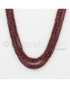 2.40 to 4.00 mm - Ruby Faceted Beads - 186.00 Carats - 4 Lines (RFB1057)