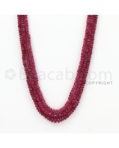 2.50 to 4.50 mm - Ruby Faceted Beads - 161.50 Carats - 3 Lines (RFB1064)