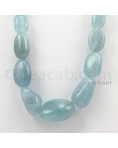 23.00 to 37.00 mm - Aquamarine Tumbled Beads - 1367.25 Carats - 1 Line (AqTuB1003)