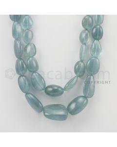 16.00 to 28.00 mm - Aquamarine Tumbled Beads - 726.00 Carats - 2 Lines (AqTuB1011)