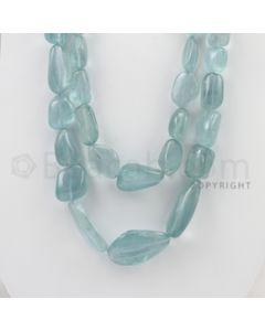 14.00 to 34.00 mm - Aquamarine Tumbled Beads - 862.10 Carats - 2 Lines (AqTuB1013)