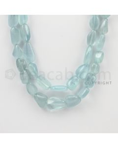 11.00 to 19.00 mm - Aquamarine Tumbled Beads - 425.90 Carats - 2 Lines (AqTuB1016)