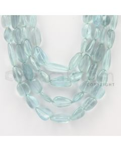 7.00 to 16.00 mm - Aquamarine Tumbled Beads - 463.90 Carats - 4 Lines (AqTuB1022)