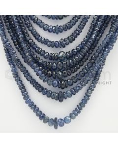 2.50 to 5.00 mm - 25 Lines - Sapphire Faceted Beads - 17 to 31 inches (SFB1016)