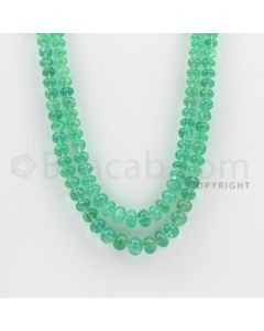 4.25 to 8.50 mm - 2 Lines - Emerald Smooth Beads - 19 to 20 inches (EmSB1006)