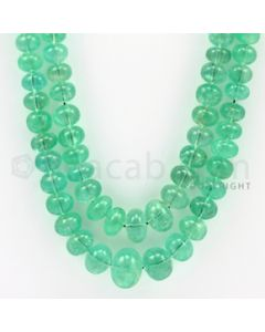 5.00 to 11.50 mm - 2 Lines - Emerald Smooth Beads - 22 to 24 inches (EmSB1008)