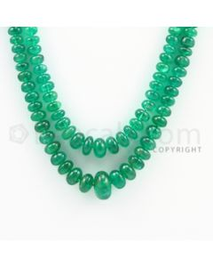 3.20 to 9.00 mm - 2 Lines - Emerald Smooth Beads - 13 to 14 inches (EmSB1011)