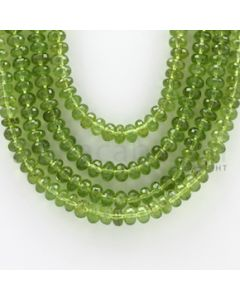 6.50 to 8.50 mm - 4 Lines - Peridot Faceted Roundel Beads - 19 to 21 inches (PFRo1004)
