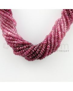 3.50 to 4.25 mm - 17 Lines - Ruby Faceted Beads Necklace - 17.25 inches (CSNKL1054)