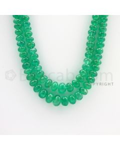 4.50 to 9.00 mm - 2 Lines - Emerald Smooth Beads - 18 to 19 inches (EmSB1030)