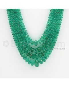 3.00 to 10.00 mm - 4 Lines - Emerald Smooth Beads - 17 to 20 inches (EmSB1032)