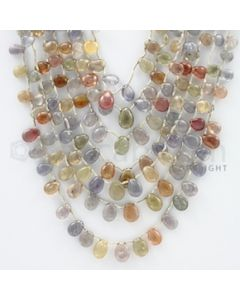 5.50 to 8.00 mm - 7 Lines - Multi-Sapphire Pear Drops - 20 to 22 inches (MSPD1001)