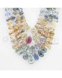 5.80 to 15.50 mm - 4 Lines - Multi-Sapphire Pear Drops- 14 to 18 inches (MSPD1004)