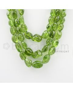 12.20 to 21.00 mm - 3 Lines - Peridot Tumbled Beads - 13 to 17 inches (PSTu1008)