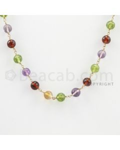 6.00 mm - 1 Line - Rhodolite, Amethyst, Citrine, Peridot, Garnet Faceted Beads Gold Wire Wrap Necklace - 18 inches (GWWCS1034)