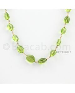 7.00 to 10.00 mm - 1 Line - Peridot Tumbled Beads Gold Wire Wrap Necklace - 18 inches (GWWCS1039)