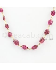 6.00 to 7.00 mm - 1 Line - Tourmaline Tumbled Beads Gold Wire Wrap Necklace - 18 inches (GWWCS1042)