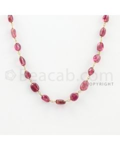 5.00 to 8.50 mm - 1 Line - Tourmaline Tumbled Beads Gold Wire Wrap Necklace - 18 inches (GWWCS1043)