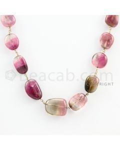 10.00 to 14.00 mm - 1 Line - Tourmaline Tumbled Beads Gold Wire Wrap Necklace - 18 inches (GWWCS1047)