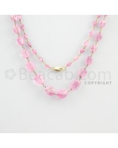 4.00 to 10.00 mm - 1 Line - Pink Sapphire Tumbled Beads Gold Wire Wrap Necklace - 27 inches (GWWCS1074)