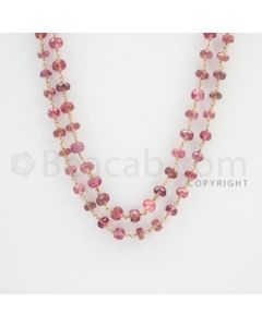 4.50 to 5.50 mm - 1 Line - Tourmaline Faceted Beads Gold Wire Wrap Necklace - 52 inches (GWWCS1092)
